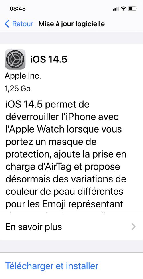 Apple : la mise à jour iOs 14.5 fait le plein de nouveautés