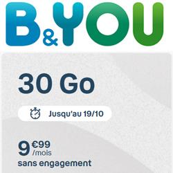 Un nouveau forfait B&You 30 Go chez Bouygues Telecom jusqu'au 19 octobre