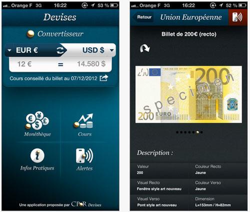 CPoR Devises : une application « Devises » pour iPhone et iPad