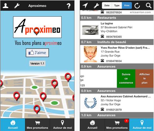 Recevez les bons plans près de chez vous avec l'application Aproximeo