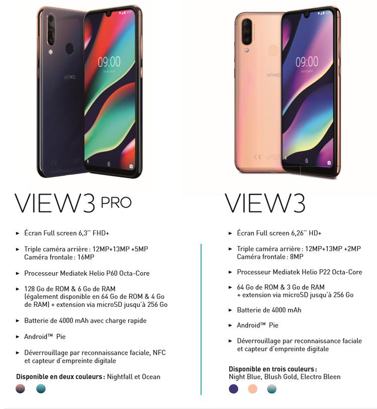 Deux nouveaux smartphones sont prévus chez Wiko : les View3 Pro et View3