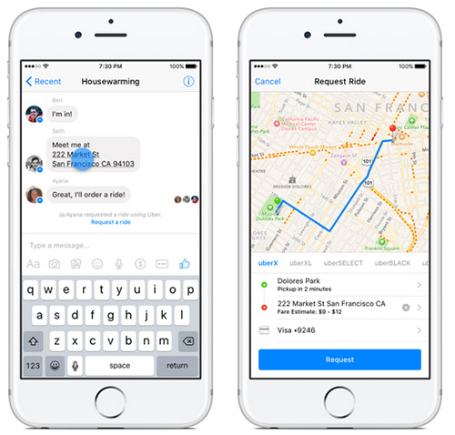 Facebook Messenger permet de commander un transport Uber