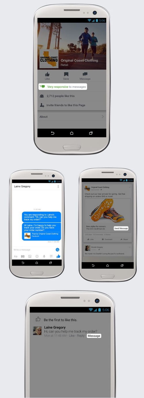 Facebook : les pages de commerces peuvent désormais communiquer avec leurs clients
