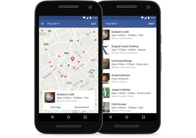 Facebook : l'application propose une carte pour le WiFi gratuit