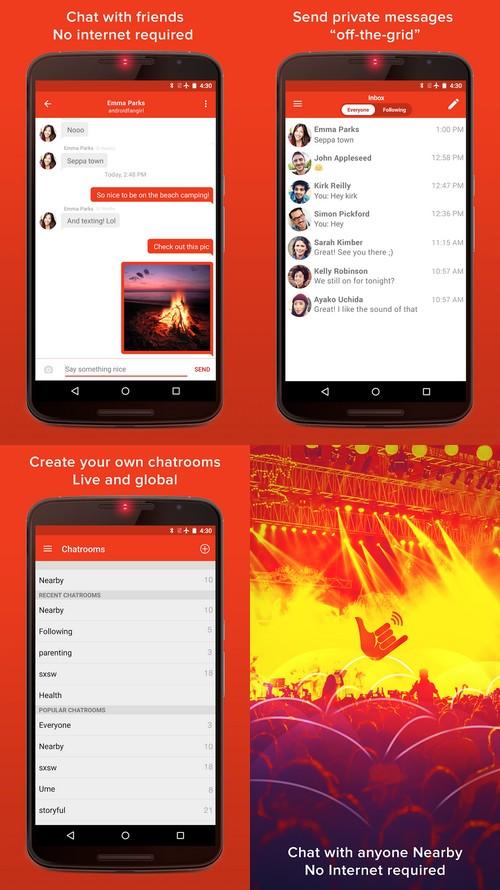 Firechat : les conversations de groupe s'ajoutent au mode hors ligne