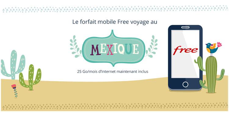 Free Mobile : 25Go/mois d'Internet mobile inclus depuis le Mexique