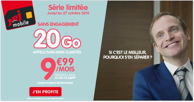 Le Forfait NRJ Mobile 20 Go est à 9.99 euros par mois