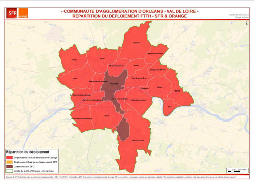 France Télécom-Orange et SFR ont présenté la couverture en fibre optique de l'ensemble des foyers de la Communauté d'agglomération d'Orléans Val de Loire