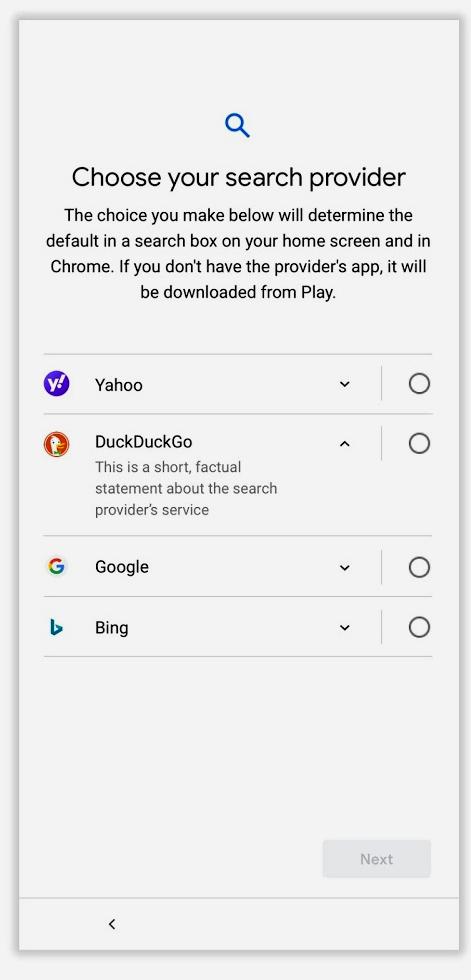Google : il sera désormais possible de choisir son moteur de recherche sur les smartphones et tablettes Android
