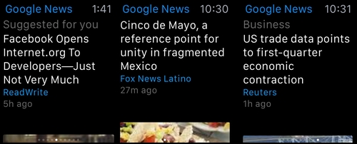 Google lance sa première application Apple Watch : News and Weather
