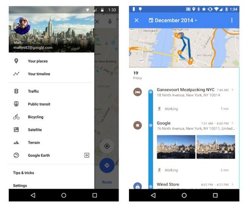 Google Maps  affiche désormais tous les endroits visités par ses utilisateurs