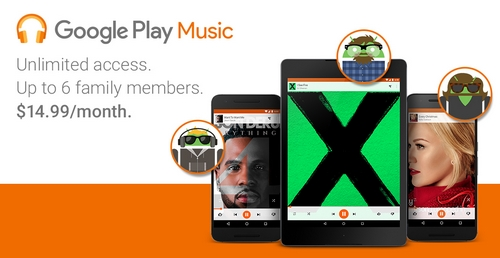 """Google Play Music propose une offre """"famille"""" à 14.99 dollars"""