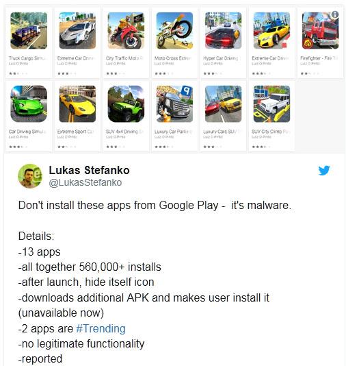 Google Play Store : plus de 500 000 utilisateurs touchés par 13 applications contenant un malware