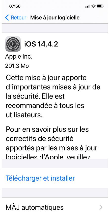 iOS 14.4.2 : Apple déploie une mise à jour de sécurité urgente