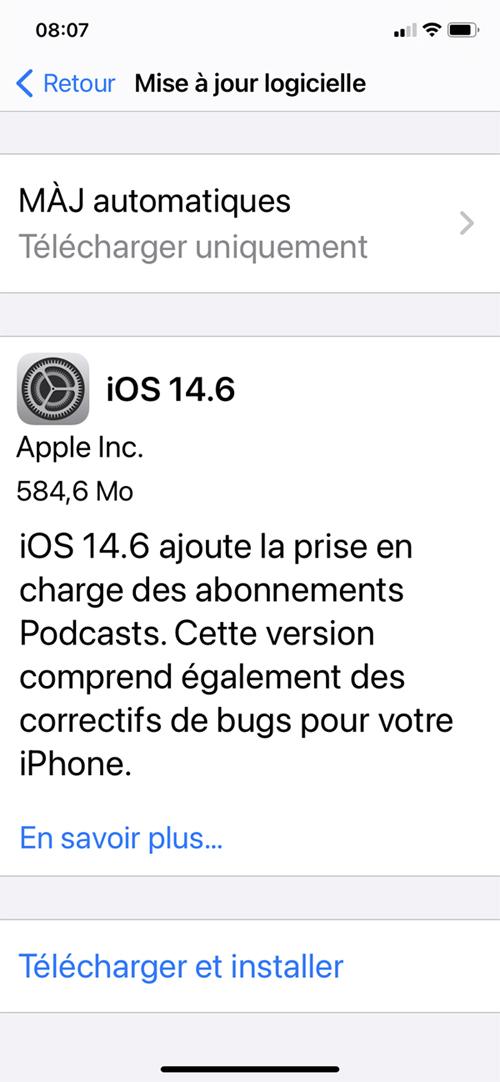 iOS 14.6 est disponible en téléchargement