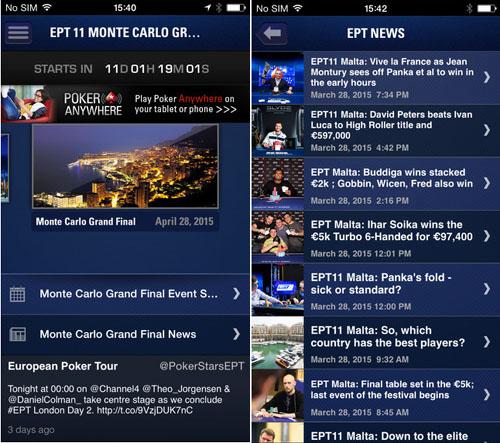 L'application EPT permet de vivre sa passion pour le poker à tout instant