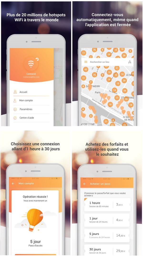 L'application Fon WiFi vous connecte automatiquement sur des millions de hotspots WiFi en France