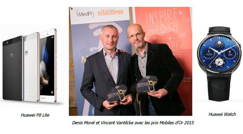 La Huawei Watch et le smartphone Huawei P8 Lite récompensés aux Mobiles d'Or 2015
