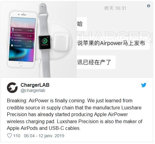 La production du chargeur sans fil AirPower aurait enfin commencé