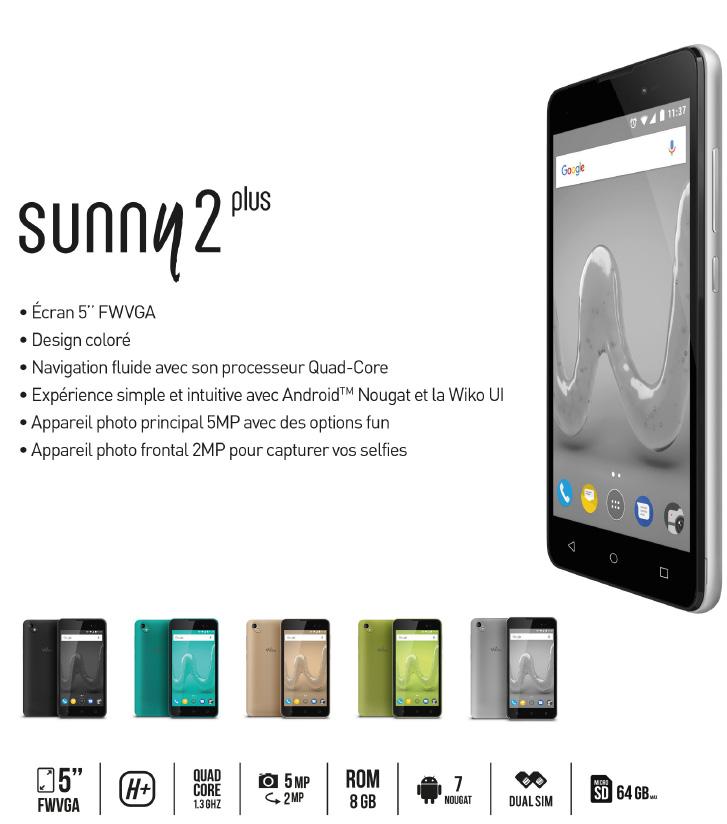Wiko lance le Sunny2 Plus à moins de 70 euros