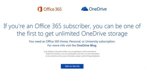 Les utilisateurs d'Office 365 ont droit à un  stockage illimité sur OneDrive