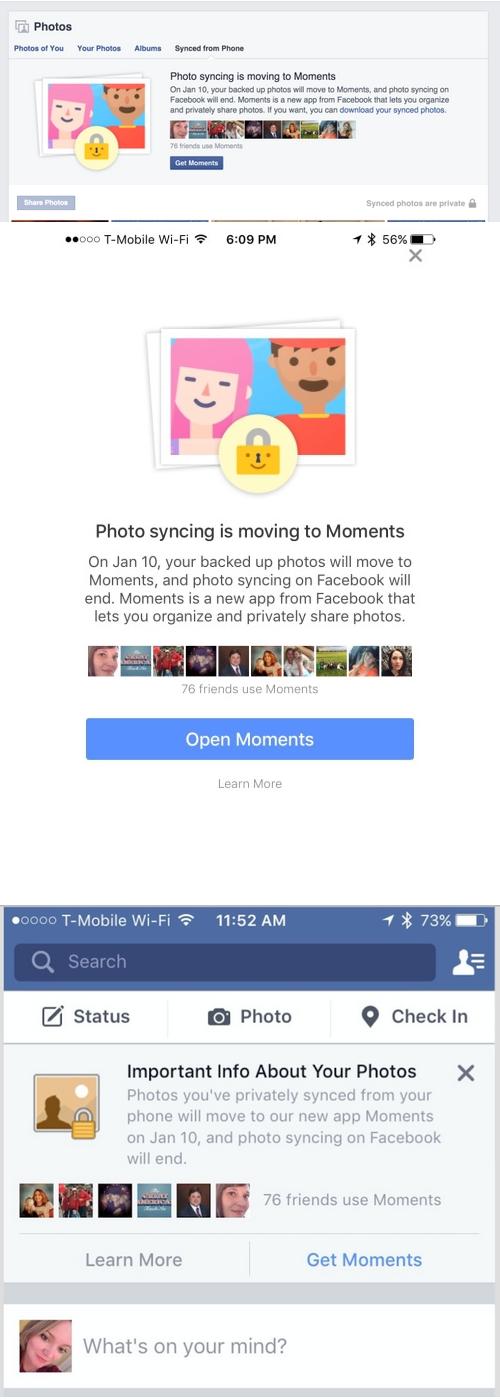 Facebook veut imposer Moments à ses utilisateurs ?