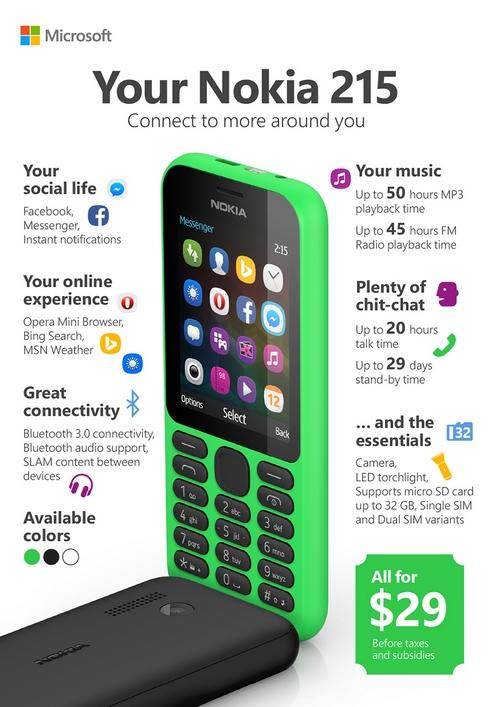 Nokia 215 : un mobile chez Microsoft destiné aux marchés émergents