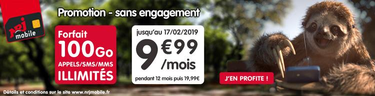 NRJ Mobile propose son forfait Woot en série limitée 100 Go à 9.99 € par mois