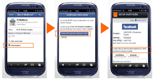 Orange lance le paiement dans l'univers Facebook mobile via sa facture