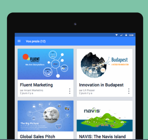 Prezi lance son application Android
