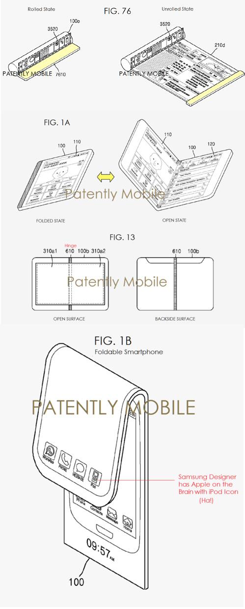 Samsung dépose plusieurs brevets de smartphones pliables et enroulables