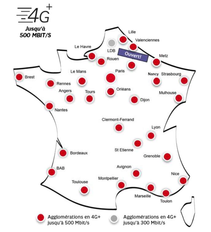 SFR : 30 villes ouvertes en 4G+ jusqu'à 500 Mbit/s