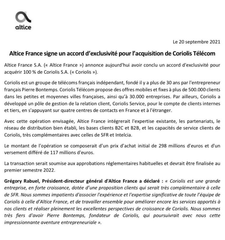 SFR rachète Coriolis Télécom pour 415 millions d'euros