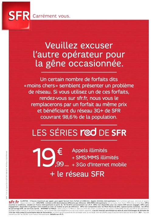 SFR s'attaque à Free Mobile par publicité interposée