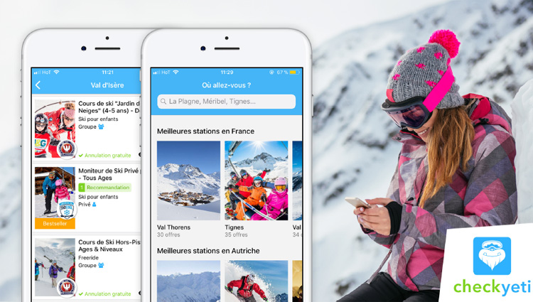 CheckYeti, une application pour trouver des écoles de ski et des moniteurs