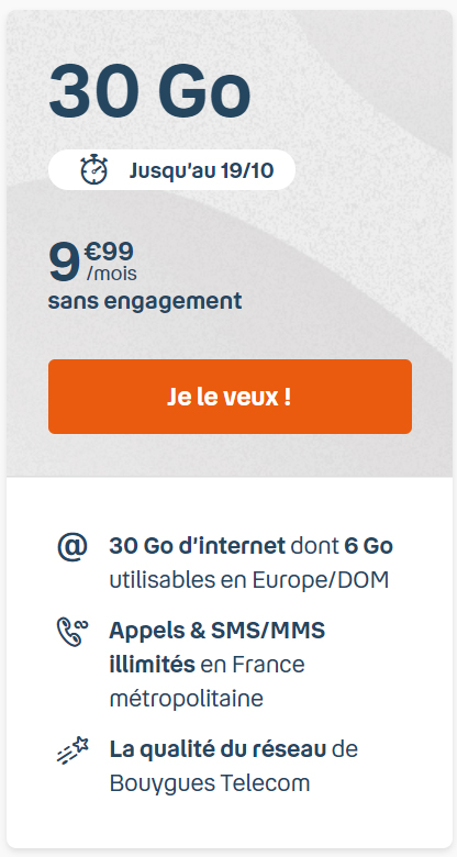 Bouygues Telecom lance un forfait  B&You 30 Go jusqu'au 19 octobre