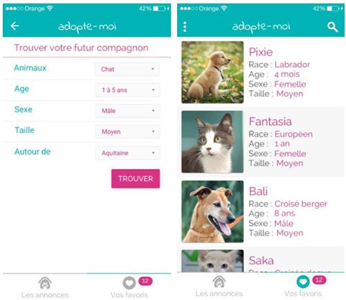 Adopte-moi, la première application d'adoption de chiens et chats