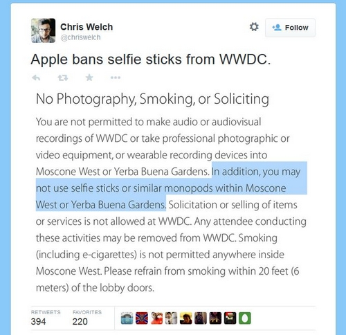 WWDC : Apple interdit l'utilisation des selfies sticks
