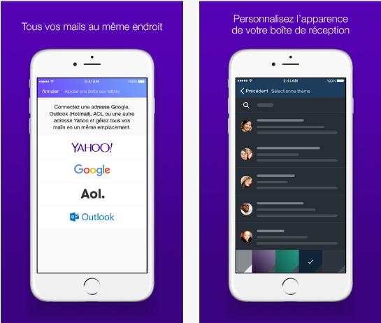 L'application Yahoo Mail est disponible pour toutes les messageries