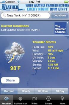 Les utilisateurs américains de l'iPhone raffolent de la météo